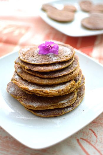 Pancakes In Plate On Table