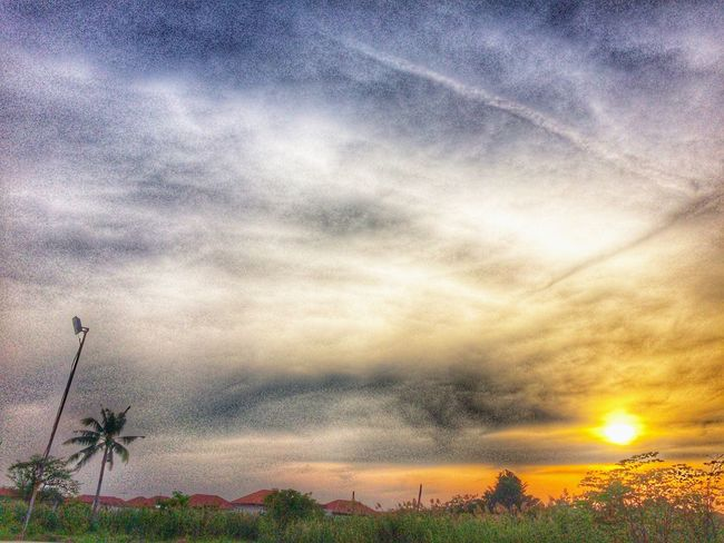 HDR sunset in village Villa Village Parking Garden Plant Tree Sky And Clouds Cloud Sky Day To Night. Evening Twilight Sunset High Dynamic Range HDR Cloud - Sky Sky Beauty In Nature Sunset Scenics Tranquility Nature