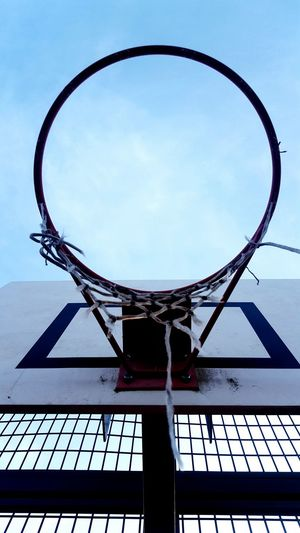 Sky Clear Sky Day Outdoors No People Aerospace Industry Circle Basketball Hoop Basketball Destroyed City Stade City Life