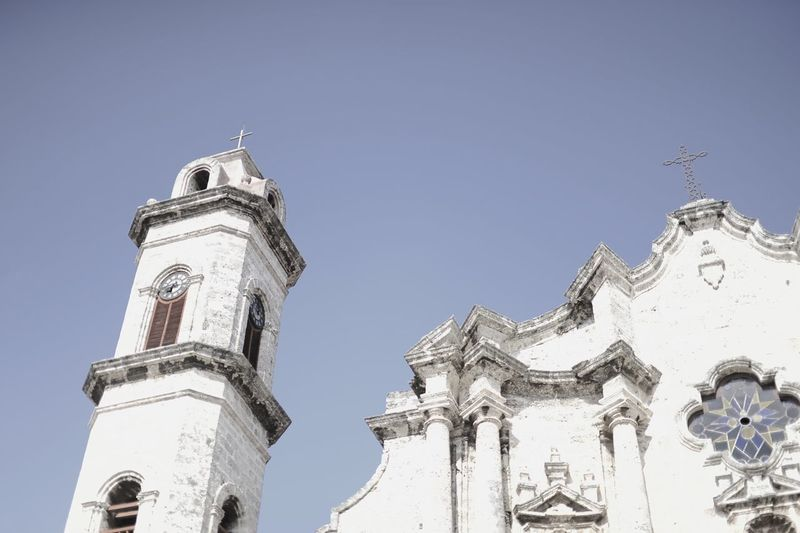Architecture Building Exterior Built Structure City Clear Sky Clock Clock Tower Cuba Church Day Habana Vieja Hello World History Low Angle View No People Outdoors Religion Sky Tower