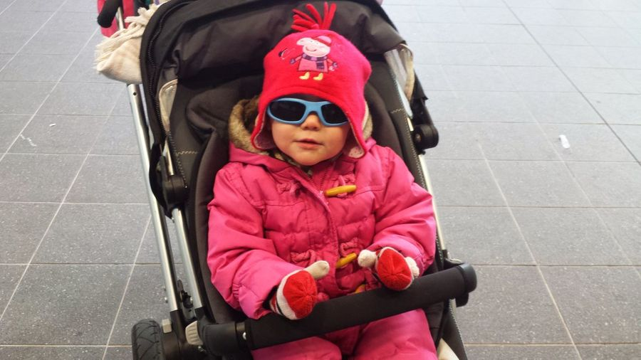 Kid In A Pushchair Keeping Warm Looking Cool Sunglasses Looking Happy Looking Cute Pretty In Pink London