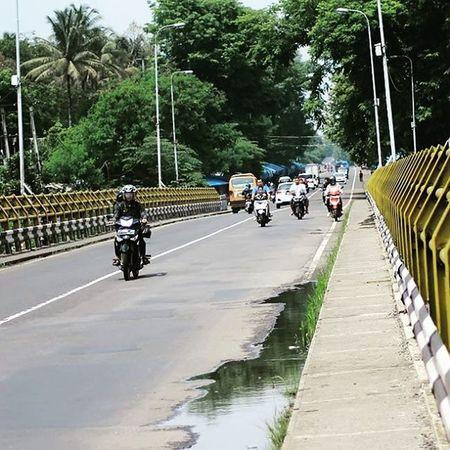 Across the Citarum bridge after the rain. Bridge Building Jembatan Citarum Cianjur Photocianjur Motocycle Vehiclemass