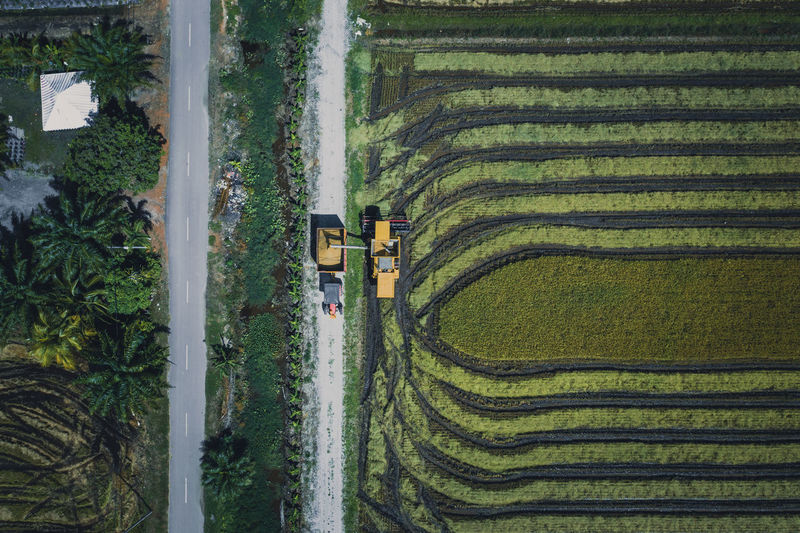 Directly above view of combine harvester on field