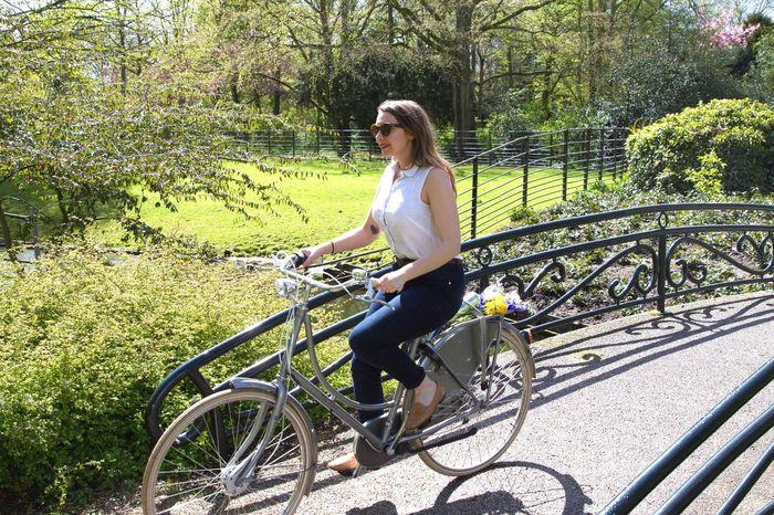 Bike Riding Bike Woman Riding Bike Girl Riding Bicycle Spring Time Park Beautiful Weather