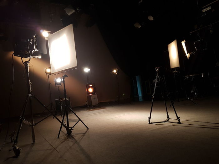 Illuminated lighting equipment at studio