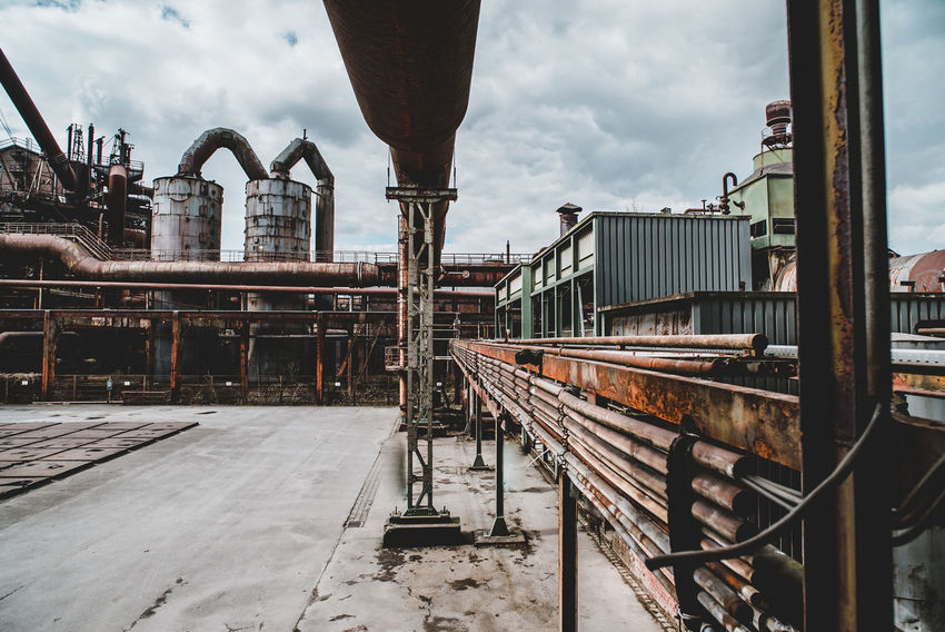 Landschaftspark Nord Architecture Building Exterior Built Structure Business Cloud - Sky Cold Temperature Day Factory Industrial Equipment Industry Metal Nature No People Outdoors Railing Sky Snow Track Winter