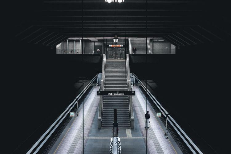 High angle view of escalators at subway station