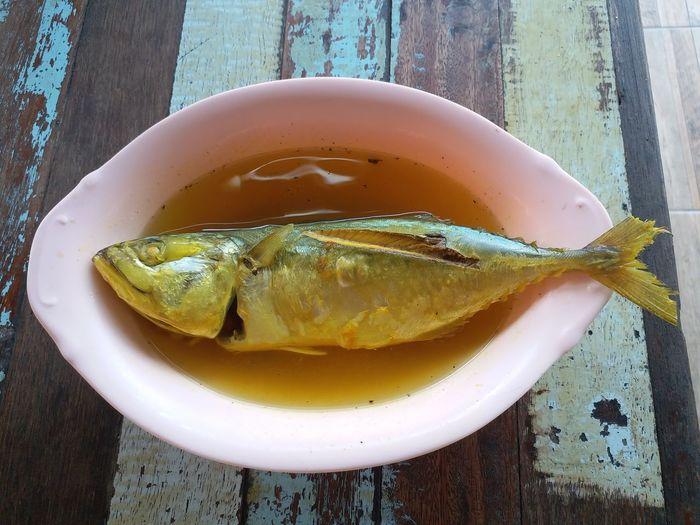 ปลาทูต้มส้ม Food And Drink Healthy Eating Indoors  No People Food Day Ready-to-eat Plate Delicious Savory Food Yellow Color Fish