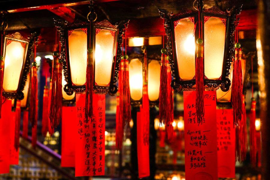 Hong Kong HongKong Man Mo Temple Chinese Lantern Hanging Illuminated Lantern Lighting Equipment No People Non-western Script Paper Lantern Place Of Worship Red Religion EyeEmNewHere