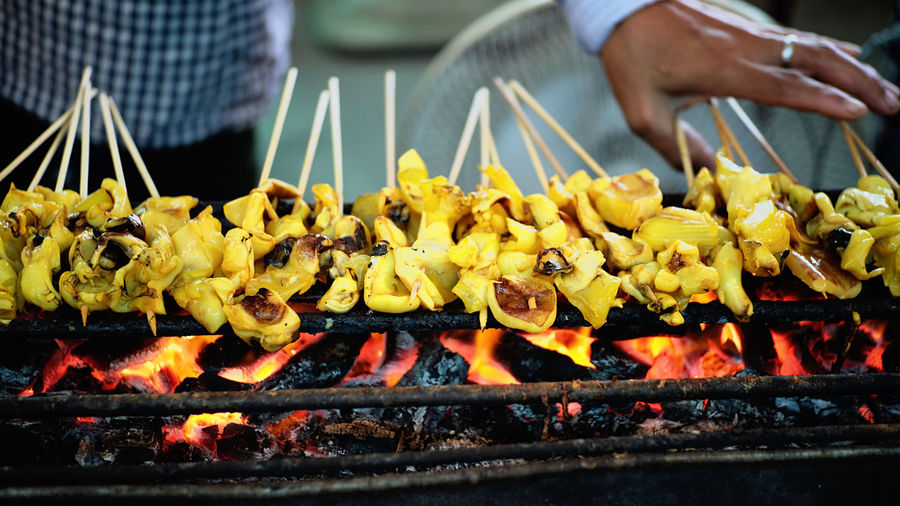Delicious grilled squid on the street food