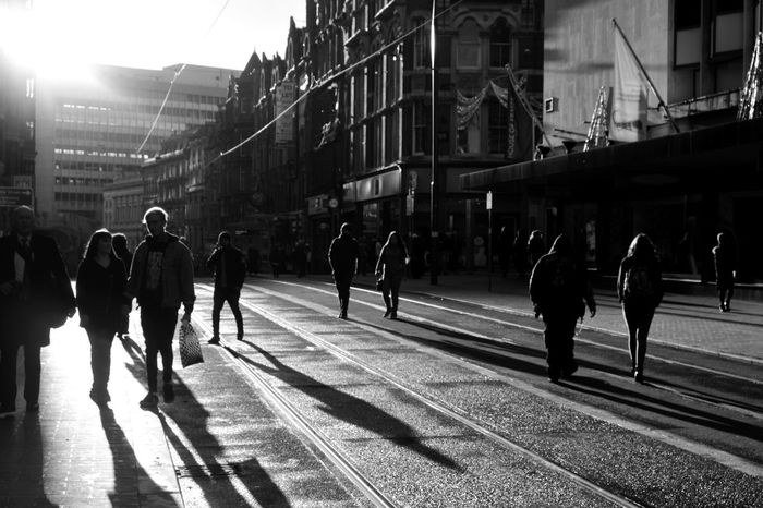 Sunlight Textures Wet Tones Street Busy waiting game Birmingham Monochrome Photography Digital Landscape City Streetphotography Shadows Taking Photos The City Light