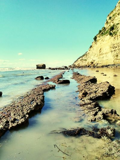 Sea Water Beach Rock - Object Landscape Outdoors No People Sky Nature Day Horizon Over Water Clear Sky Beauty In Nature New Zealand Landscapes New Zealand Beauty Travel Destinations New Zealand Photography New Zealand New Zealand Natural Clear Sky New Zealand Landscape Beauty In Nature