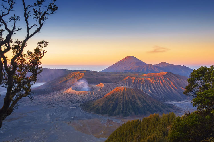 Beautiful sunrise scenery at Mount Bromo, Indonesia INDONESIA Landscape Photography Beauty In Nature Bromo Mountain Environment Geology Idyllic Land Landscape Mountain Mountain Peak Nature No People Non-urban Scene Outdoors Physical Geography Plant Scenics - Nature Sky Sunset Tranquil Scene Tranquility Tree Volcanic Crater Volcano