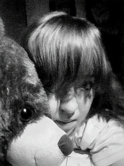 Teddy Bear Me Evening In Home Polishgirl Lonely Day Bisexual Sadness B&w Photography Dark