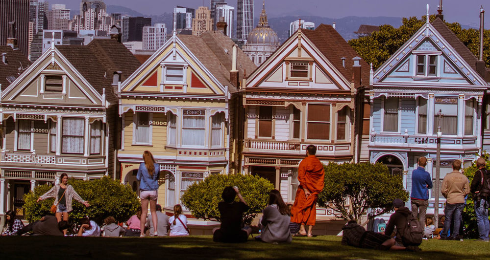 Painted Ladies San Francisco Adult Architecture Building Building Exterior Built Structure Child Childhood Crowd Day Group Of People Large Group Of People Leisure Activity Lifestyles Men Nature Real People Residential District Togetherness Women