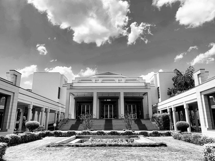 Black and white Musuem Architecture Built Structure Building Exterior Sky Cloud - Sky Building Nature Day Architectural Column Outdoors Staircase No People Low Angle View Tree