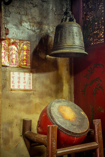 Man Mo temple, Hong Kong. Bell Drum Gods Hong Kong Man Mo Temple Statue Worship Buddhism Buddist Temple Chinese Chinese Writing Incense Indoors  No People Place Of Worship Red Religion Still Life Temple Temple - Building