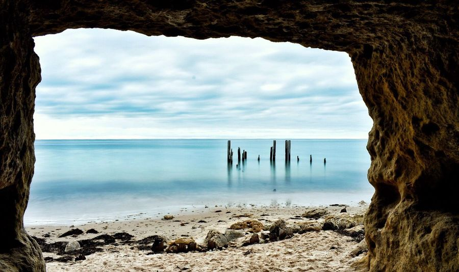 Sea Water Horizon Over Water Sky Beauty In Nature Beach Nature Scenics Tranquil Scene Rock - Object Tranquility Day Cloud - Sky Outdoors No People Tree