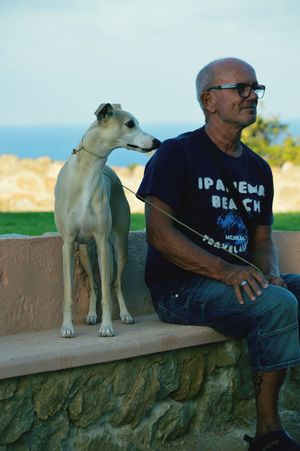 Friends ❤ Domestic Animals Whippets Dog Men Person Standing Whippet Holiday Galgos Levrier Dogs Of EyeEm Dog❤ Dogslife Dog Love Urlaub ❤ Windhund