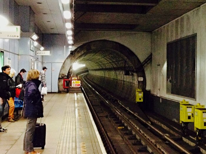 City Of London Public Transportation Lookingdown Tunnel DLR Vanishing Point Greenwich Waiting For A Train