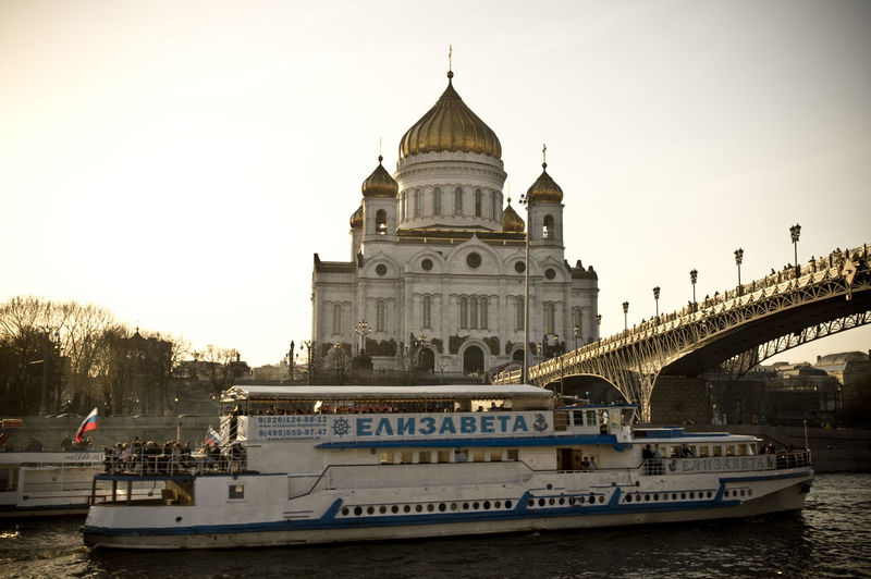 Basilica Cathedral Cathedral Of Christ The Saviour Check This Out EyeEmNewHere Moscow Russia Travel Photography Architecture Bridge Dome Government Nature Nautical Vessel Passenger Craft Place Of Worship River Sky Transportation Travel Travel Destinations Water Waterfront храм христа спасителя