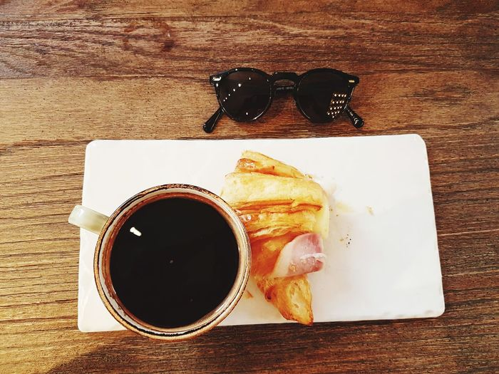 Food Snack EyeEm Selects #photography Breakfast #Favorite  Croissant EyeEm Best Shots Russia 2018 Eye4photography  EyeEm Gallery EyeEmBestPics Plate Drink Directly Above Table Still Life High Angle View Close-up Sweet Food Food And Drink Froth Art Black Coffee Mocha Coffee - Drink Coffee Cup Roasted Coffee Bean Paper Plate Tart - Dessert Sweet Pie Caffeine Espresso Coffee Frothy Drink