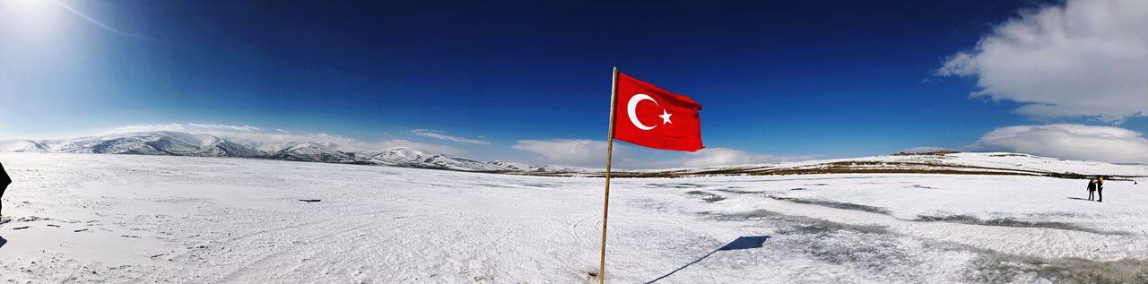 Turkey Kars Doğu Ekspresi çıldırgölü Lake Ice White Travel Photo EyeEm EyeEm Selects Snow Winter Cold Temperature Sky Flag Nature Cloud - Sky Sunlight