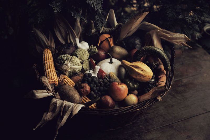 Fruits in basket on table