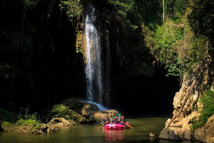 Green Jungle Trekking Rafting Kayak Rock - Object Adventure Nature Beauty In Nature Forest Nautical Vessel Water Scenics Tree Wonderlust Tranquility Vacations Outdoors Waterfall People Adult Day Eco Tourism Astrology Sign