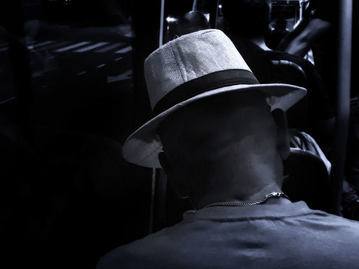 Man Bus Hat Real People One Person Men Rear View Headshot Focus On Foreground Human Body Part Portrait Clothing Indoors  Incidental People Occupation Lifestyles Business Close-up Day