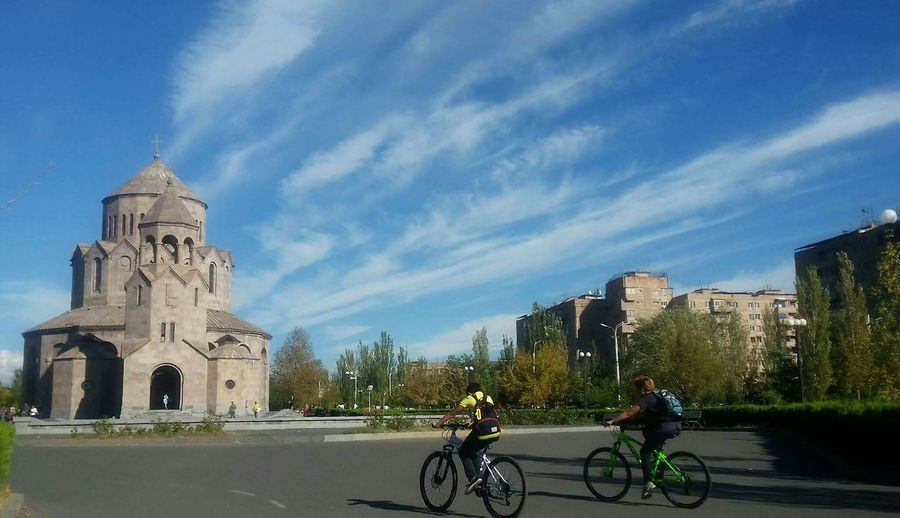 City Life Cloud - Sky Cycling On The Move Sky City Bicycle Clouds And Sky Church Resting Yerevan Autumn