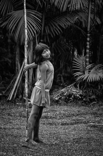 Retratos Guaranis. Indian Nature Rio Silveira Indian Reservation Travel Photography Aldeia Guarani Beautiful Woman Black And White Day Front View Guarani Indian Guarani Village Guarani Woman Indigenous Clothing Indigenous Necklace Indigenous Reservation Indigenous Woman Lifestyles Nature One Person People Portrait Praia De Boraceia Real People Reserva Indigena Rio Silveira Young Women