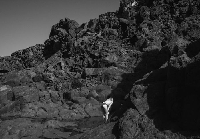 Volcanic View Black And White Toplesswoman Lingerie Model Rocks Mountains Coastline Dark Shadows Summer Holidays Vacations Clear Sky Lost Girl Linas Was Here