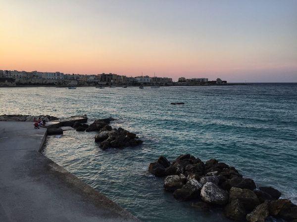 Gallipoli Puglia Italy Eyeemphoto Eyeem Community EyeEm Gallery Sunset Sea Water Clear Sky Nature Beauty In Nature Outdoors Beach Horizon Over Water Sky EyeEmNewHere