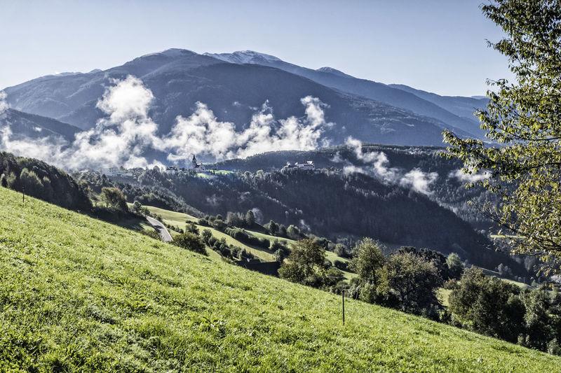 Rodeneck in South Tyrol, Italy, view to Plose mountain Alto Adige Castle Dolomites Eisacktal Hiking Holiday Kronplatz Mystic Pasture Sightseeing Südtirol Alps Beauty In Nature Brixen  Bruneck Italy Landscape Mountain Range Plose Pustertal Rodeneck Rodenegg Scenics Travel Destinations Valley