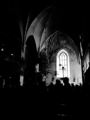 Arch Silhouette Indoors  People Architecture Large Group Of People Finland Church Darkness And Light Window Mosaic Atmospheric Worshippers Tourists Cross Vault Arch
