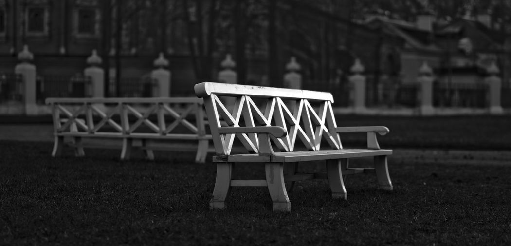 Empty benches outside palace