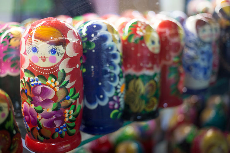 Close-up of russian nesting dolls for sale in store