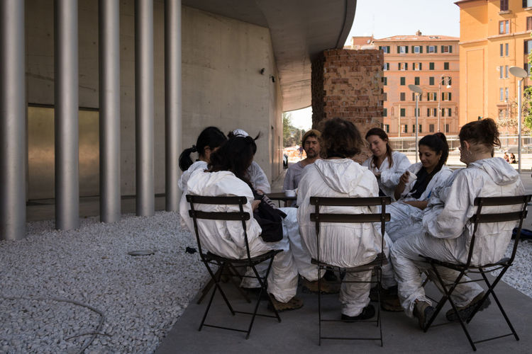 Architecture Building Exterior Built Structure City Coffee Break Day MAXXI Museum Museum Of Modern Art Outdoors Overalls Real People Resting Rome Sitting Togetherness Tourist Destination Uniforms Work Wear WorkWear