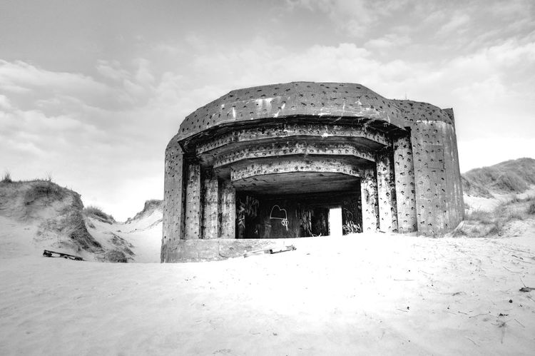 Atlantic Wall Blåvand Architecture Blackandwhite Built Structure Cloud - Sky Cold Temperature Day Low Angle View Nature No People Outdoors Sand Scenics Sky