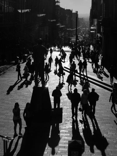 Light And Reflection Large Group Of People Walking Shadow Real People Building Exterior City Life Architecture Glasgow  Scotland