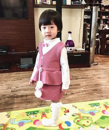 Pink Dress One Person Real People Child Childhood Cute Innocence My Best Photo Looking At Camera Females Indoors  Home Interior Standing Girls Front View Portrait Full Length Babyhood