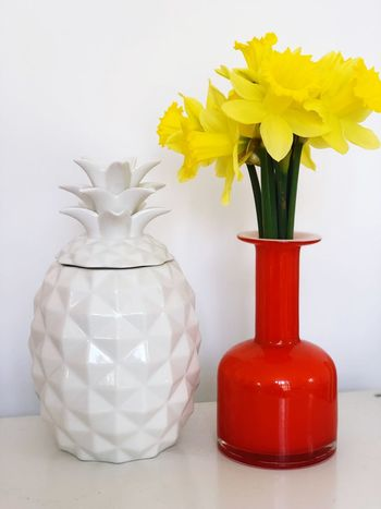 Yellow. Yellow Daffodils Pineapple Vase Flower Table White Color Indoors  Jar Yellow Close-up Flower Head No People Fragility White Background Day