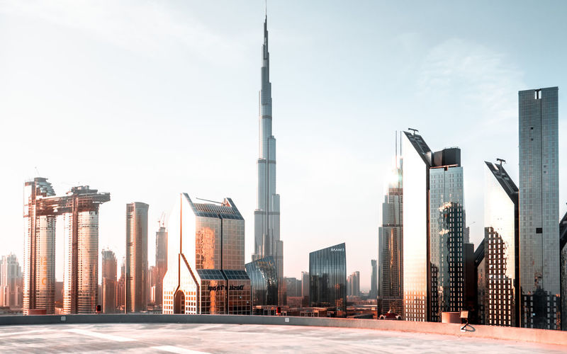 Dubai Rooftop Tower Skyline Sunset Close-up Building Exterior Architecture Skyscraper Tall - High Urban Skyline Modern Industry