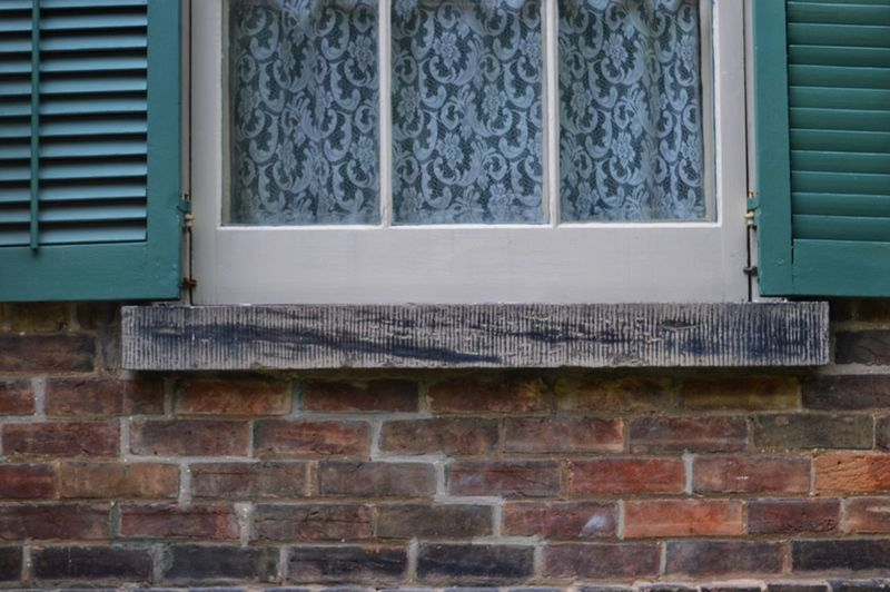 Nikon Photography Nikon D3200 Lines Shadows Patterns Background Objects Of Interest Antiques Window Brick Wall House Architecture Building Exterior Close-up Built Structure Shutter Brick Blinds Weathered Window Frame