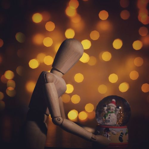 Woody is getting ready for Xmas Illuminated Focus On Foreground Xmas Xmas Decorations One Person Close-up Creative Photography Night Human Representation Woodyforest Figurine  Creativity