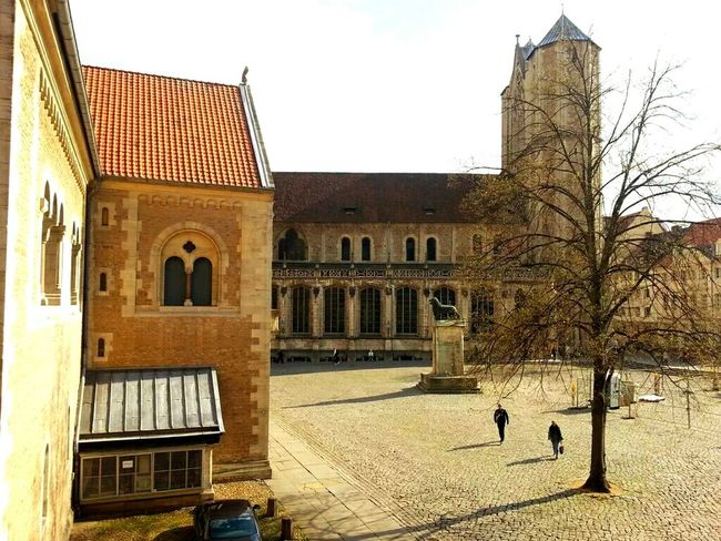 Unusual view for a native Brunswicker... Cathedral Castle Plaza Medieval Romanic Brunswick Braunschweig Statue Lion Window View