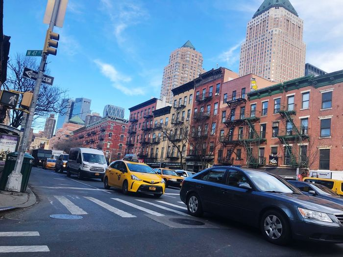 47th Newyork Car Land Vehicle Sky Transportation Architecture Building Exterior Mode Of Transport Outdoors Street Day Road No People Cloud - Sky Built Structure City