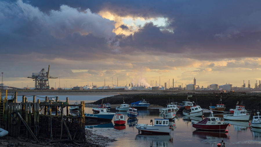 Architecture Building Building Exterior Built Structure City Cityscape Cloud - Sky Harbor Mode Of Transportation Moored Nature Nautical Vessel No People Outdoors Redcar Sea Sky Sunset Teesside Teesside Steel Transportation Travel Destinations Water
