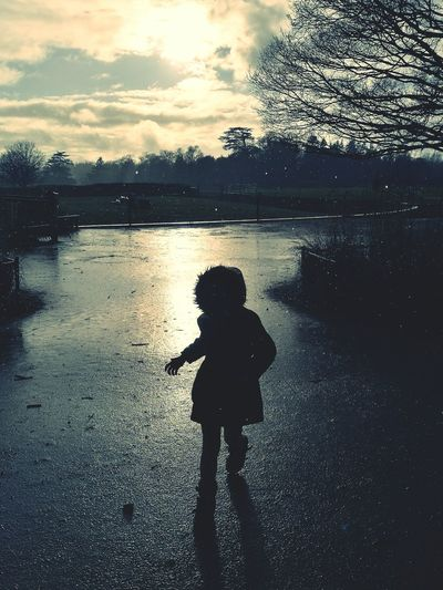 One Person Sky Wet Childhood Outdoors Silouhette Rainy Days